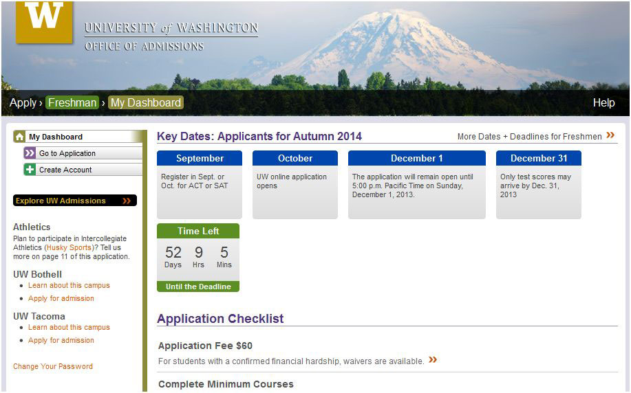 University of washington admissions essays